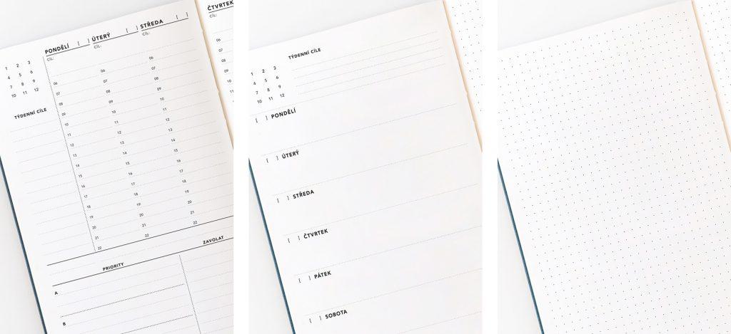 Horizontální diář, klasic Diář a Journal